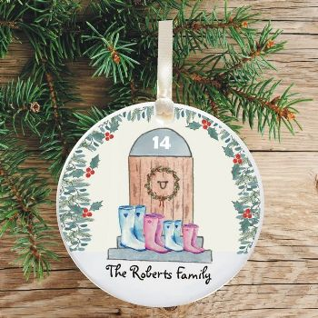 Ceramic Keepsake Boots Christmas Tree Decoration - Family House with Holly Design